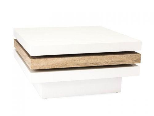 Stolik kawowy RITA, blat MDF, kolor biały lakier, dąb sosnowy. Wymiary: 42/80*80 Cena: 829 zł nordicdecoration.com