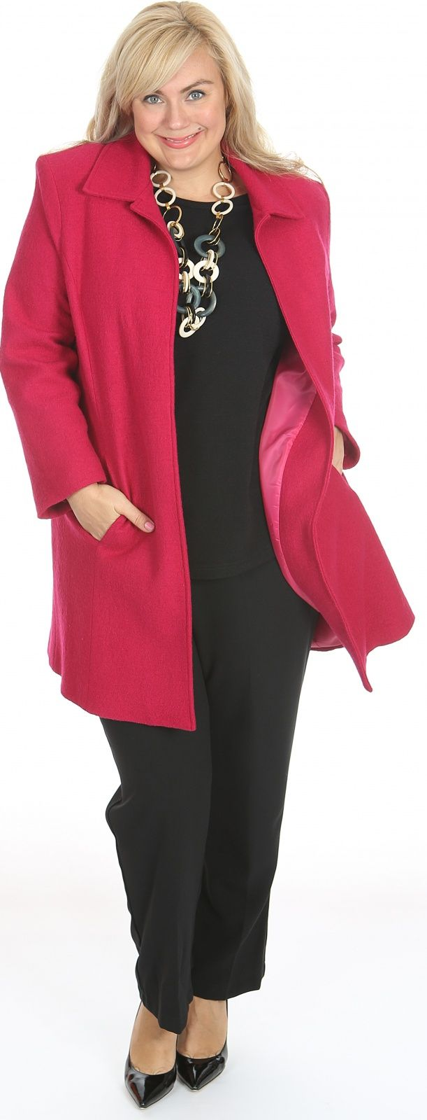Chic boiled wool car coat raspberry: Versitile boiled wool car coat from Lucia Darling. Pictured here in raspberry. Also avaiable in black and royal blue. Approx length shoulder to hem 90-100cm. Fabric: Wool Label: Lucia Darling