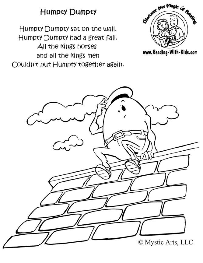 Humpty Dumpty coloring page  This website is full of great FREE printables for kids. Holiday coloring pages, reading games, Nursery Rhyme coloring pages, etc. You must pin this!!