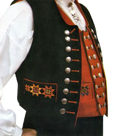 Men's Fana bunad - Norwegian folk costume - many buttons