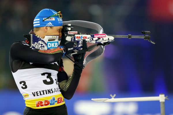 Erik Lesser of Germany shoots during the JOKA Biathlon World Team Challenge 2016 at Veltins-Arena on December 28, 2016 in Gelsenkirchen, Germany.