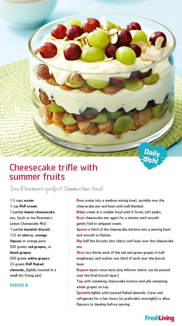 Aren't we lucky to have a summery #Christmas here in SA?! This oh-so-fancy #cheesecake #trifle with summer fruits makes for a truly South African feast. #picknpay #dailydish #recipe #pudding