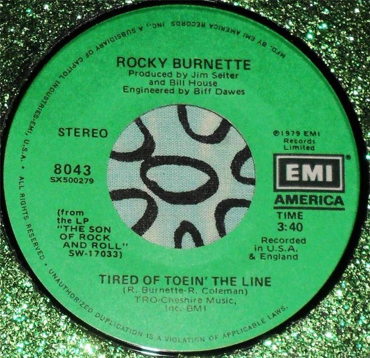 R&R.....ROCKY BURNETTE.....TIRED OF TOWING THE LINE...1979...(M-)...CAN HEAR #PopPOPVOCALSCLASSICROCK