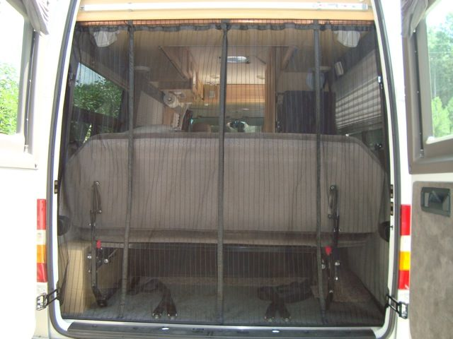 Cool mods to a roadtrek screens and cabinets van for Back door with window and screen
