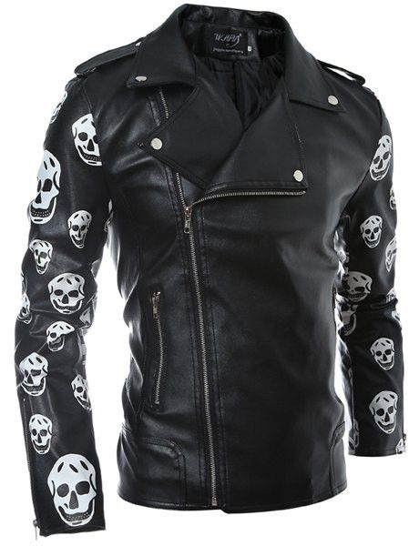 Skull Pattern Print Long Sleeve Turn Down Collar PU Leather Coat For Men FREE SHIPPING !!!
