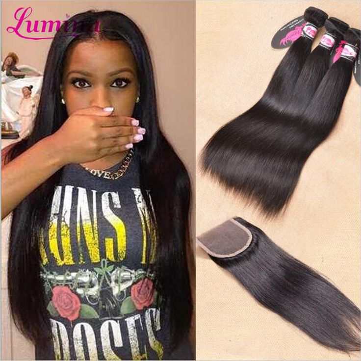 7a Malaysian Virgin Hair With Closure Straight Human Hair Weave And Lace Closure Rosa Hair Products 3/4 Bundles With Closure