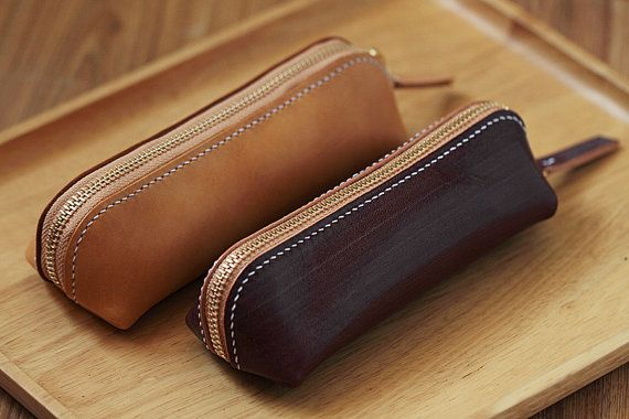 100% Hand-stitched Leather Pencil Case Multi-pouch by AnneSoye