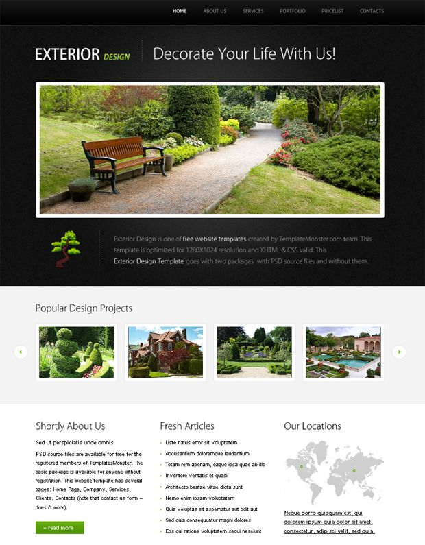 Free Website Template for Exterior Design Project with jQuery Slider