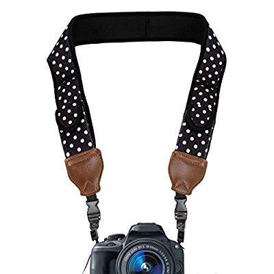 USA GEAR Sangle Courroie Cou Confortable pour Appareil Photo DSLR & SLR - Coussins en Néoprène rembourrés & pochettes de rangement - Compatible avec Canon EOS 100D , Nikon D3300 , Pentax et plus