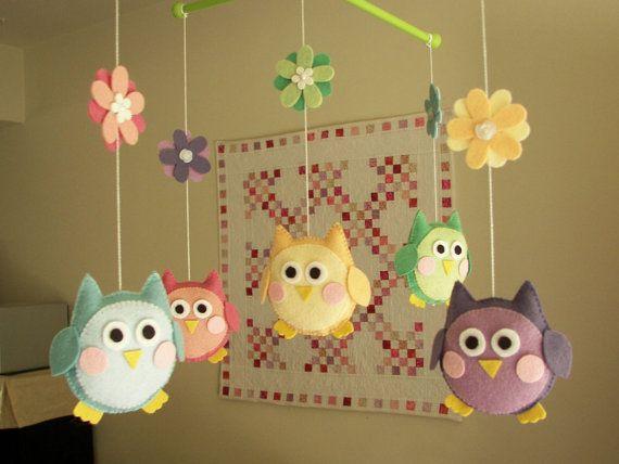 "Baby crib mobile, felt mobile, nursery mobile, owl mobile ""Cute owl - Rainbow"""