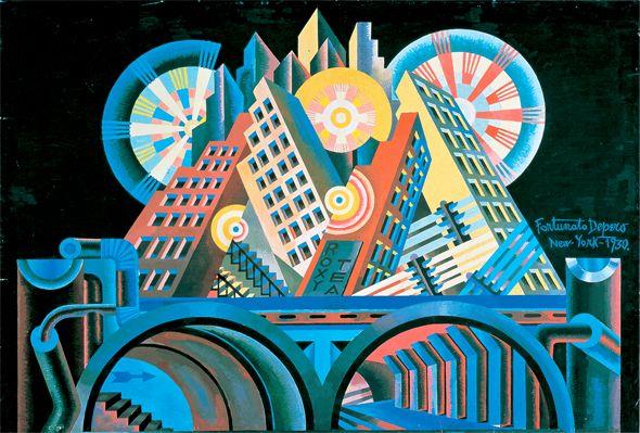 Luigi Russolo Continúa con las sensaciones dinámicas en obras como Casas + luces + cielo, Síntesis plástica del movimiento de una mujer y Dinamismo de un automóvil.