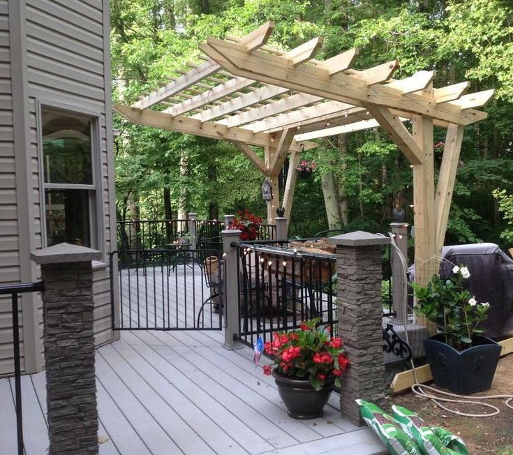 deck with railing how to build pergola over
