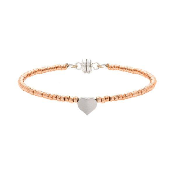 MINNIE GRACE Rose-Gold Beaded Heart charm friendship bracelet | La Luce