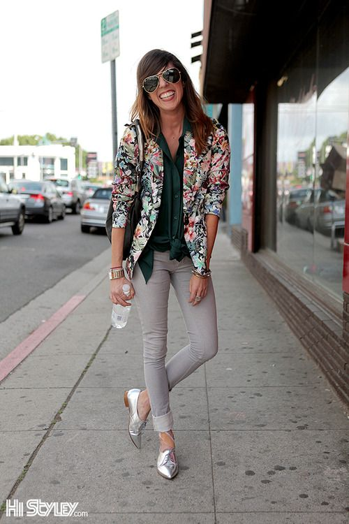 floral blazer + green shirt + grey skinnies + silver oxfords
