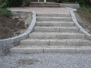 Natural stone slab steps