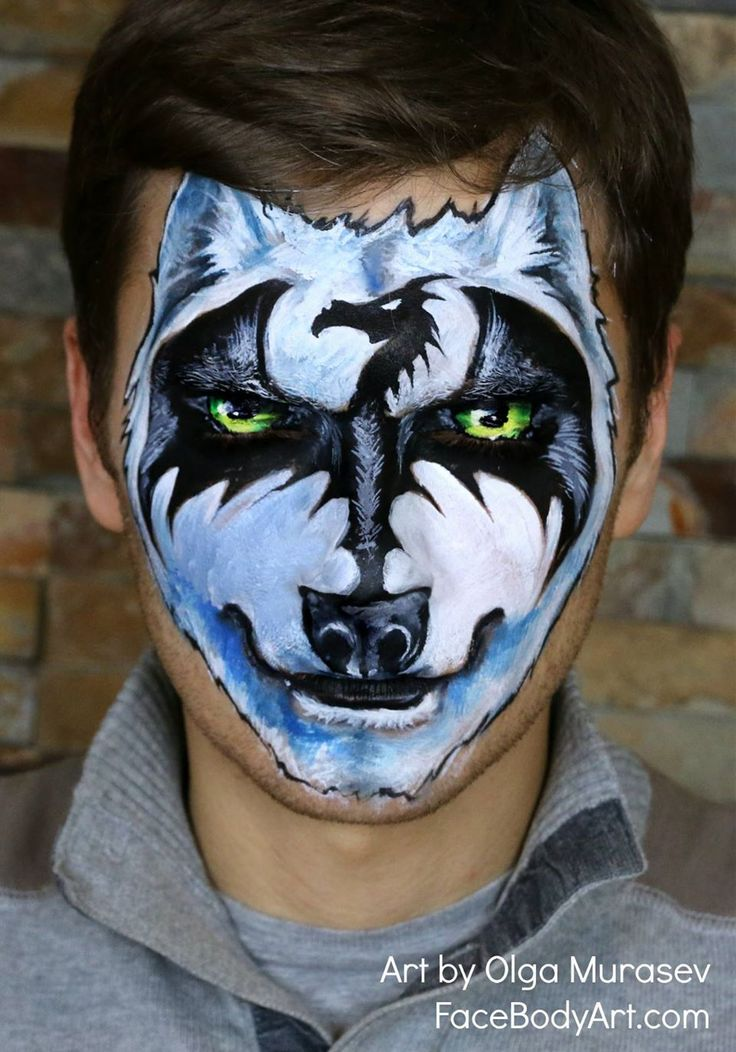 Uhmm, so here what you can come up when you have no idea what to paint. A wolf? A dragon? A warrior wolf? A polar warrior wolf! Perfect! Thanks to my amazing husband always ready to volunteer for all of my crazy face painting ideas.
