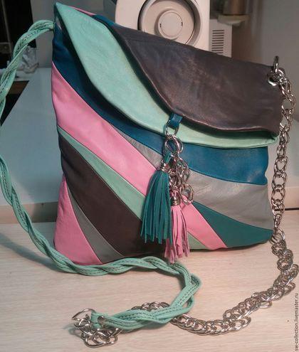 Женские сумки ручной работы. Ярмарка Мастеров - ручная работа. Купить Кожаная мягкая цветная  летняя сумочка (резерв). Handmade.