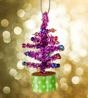 Creative Holiday Crafts for Kids: Tiny Tinsel Trees (via FamilyFun Magazine) Pipe cleaner trees, beads, cork, and washi tape