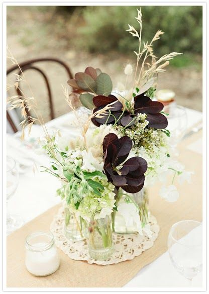 Non Floral Wedding Centerpieces Idea, leaves and wheat