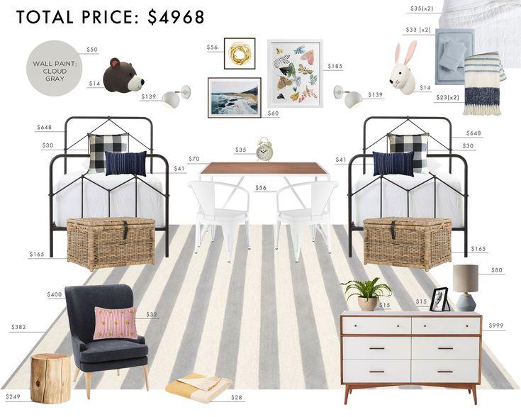 Budget Room Design: Gender Neutral Shared Kids Bedroom | Emily Henderson | Bloglovin'