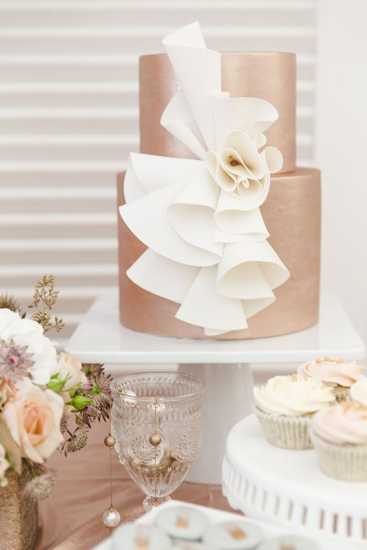 Pink Gold and White Wedding Cake