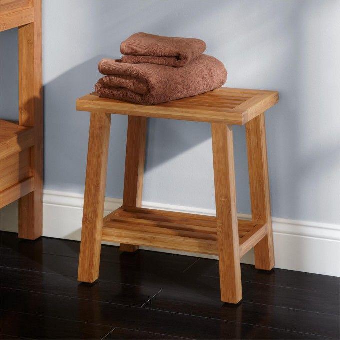 Freestanding Bamboo Slotted Bathroom Stool - Shower Seats - Bathroom Accessories - Bathroom