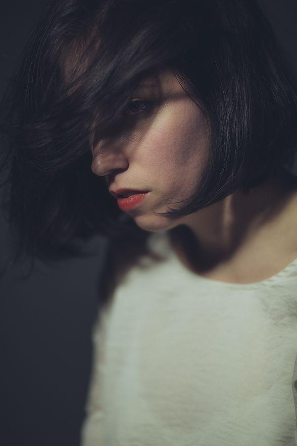 portrait red lipstick