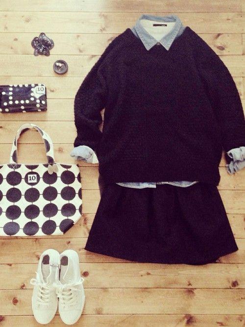 コットンパール2WAYピアス/atelier bloom シャツ/used ブローチ/松本美弥子(銀彩・陶器) shoes/nano universe bag/10gruppen (UNIQLOコラボトート)