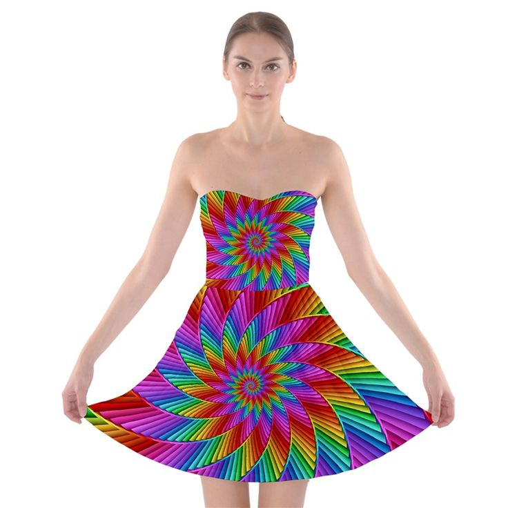 Psychedelic+Rainbow+Spiral+Strapless+Bra+Top+Dress By KittyBitty