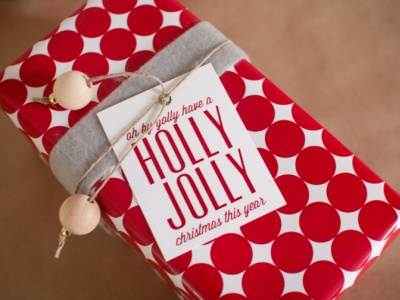 Love the red & white wrapping paper and the gift tag sentiment!: Holiday, Wrapping Paper, Gift Wrapping, Gift Ideas, Holly Jolly, Christmas, Gifts, Wrapping Ideas, Gift Tags