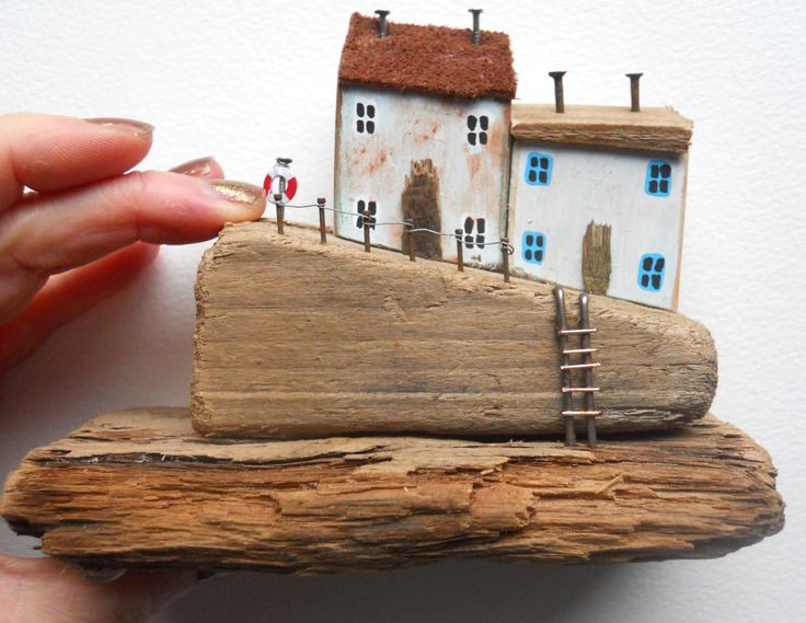 Driftwood Houses, Driftwood Cottages, Driftwood Harbour, Quaint Quayside Cottages, Quirky Houses, Whimsical Miniature Houses, Nautical House by BeadyMagpie on Etsy