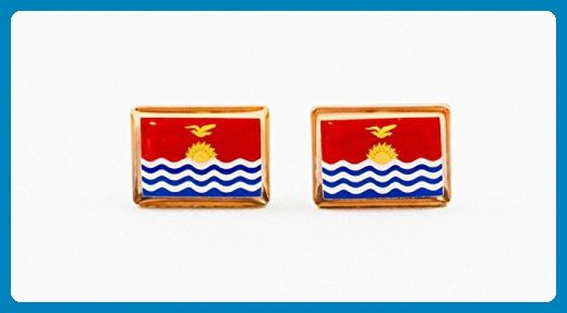 Kiribati Flag Cufflinks - Groom cufflinks and tie clips (*Amazon Partner-Link)