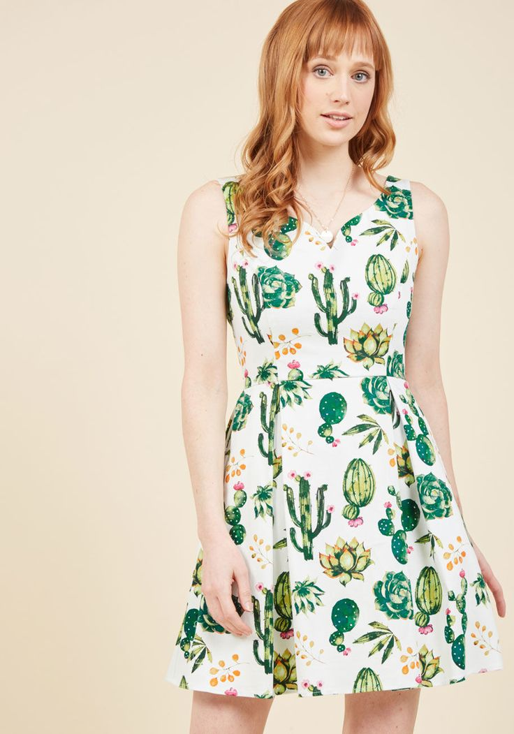 <p>Gussy up in no time flat by simply slipping into this fabulous white dress! Boasting a ModCloth-exclusive print of painterly succulents galore atop a cottony backdrop, this pleated, pocketed, and playful frock has no difficulty standing out from the crowd.</p>