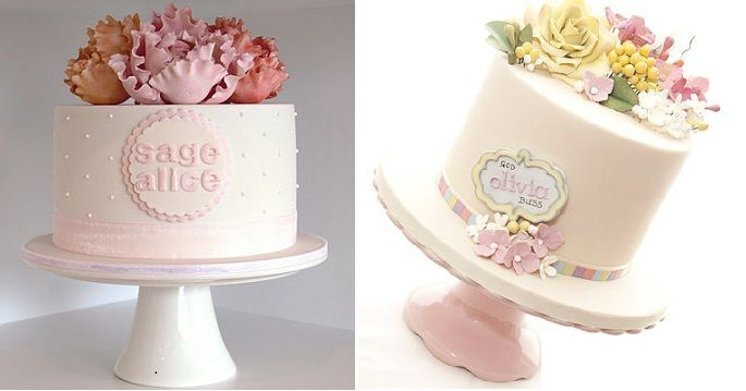 "As featured in ""Cake Name Plaques"" on Cake Geek Magazine. Cakes by Couture Cupcakes & Cookies, left, and by and Torta Couture, right. http://cakegeek.co.uk/index.php/cake-name-plaques/"