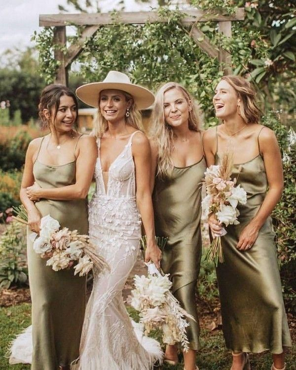 Top 10 Bridesmaid Dresses Trends And Colors Sage Green Silk Slip Bridesmaid In 2020 Sage Green Bridesmaid Dress Green Bridesmaid Dresses Slip Bridesmaids Dresses