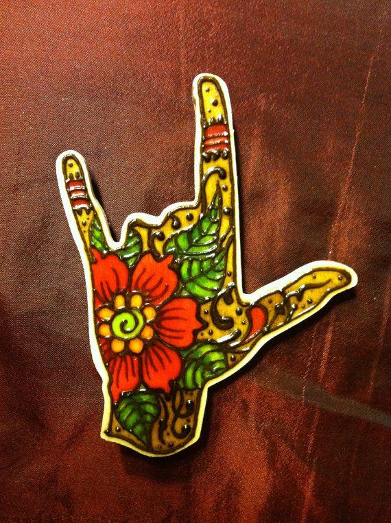 Henna on wood 'I love you' sign language hand by StarlitSkies, $14.00