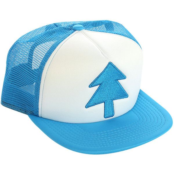 Gravity Falls Dipper Pines Truck Hat Hot Topic ($12) ❤ liked on Polyvore featuring accessories, hats and blue hat