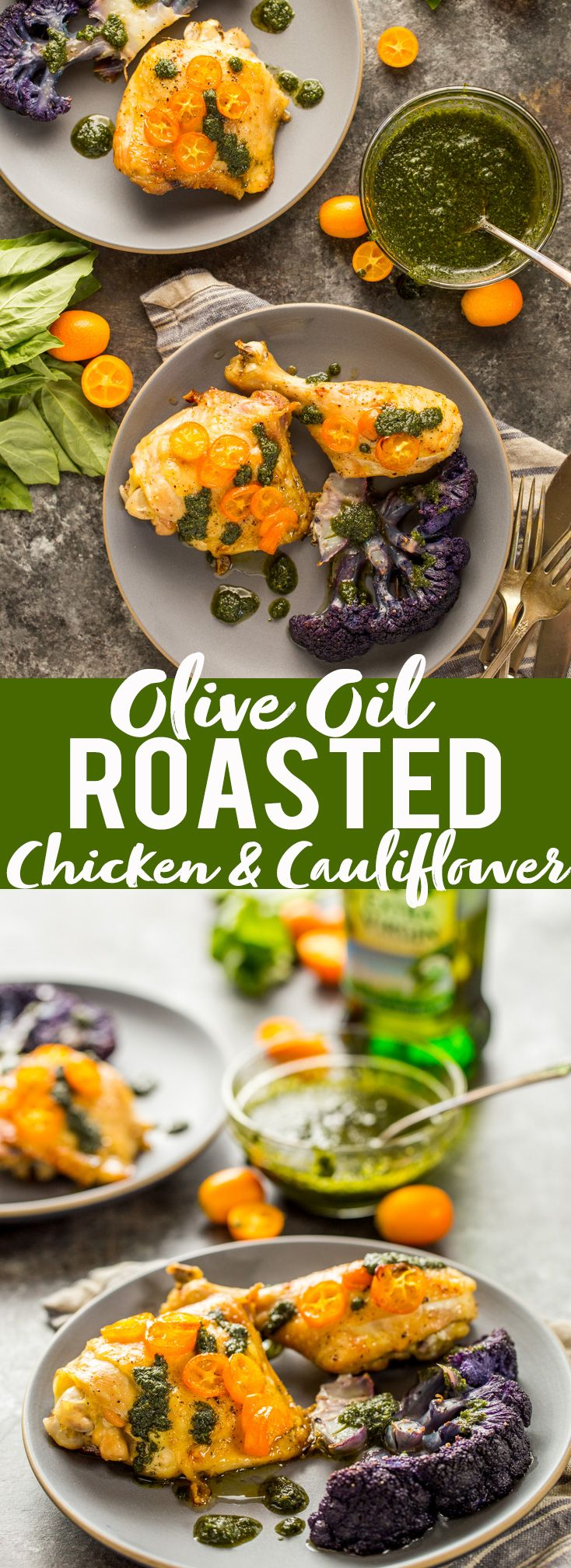 Olive Oil Roasted Chicken and Cauliflower is a combination of unexpected ingredients that come together to make a delicious dinner! #TheRecipeisSimple #ad