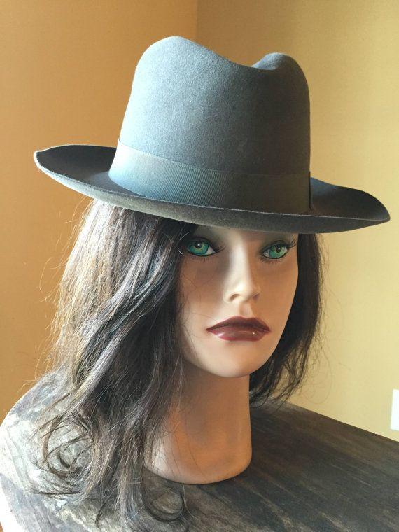 Vintage Borsalino Hat Gray Felt Pocket Hat by StylishPiggy on Etsy