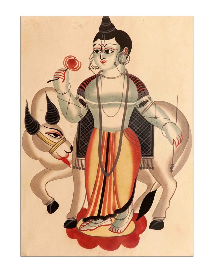 Kalighat - Lord Krishna With Cow Art Print