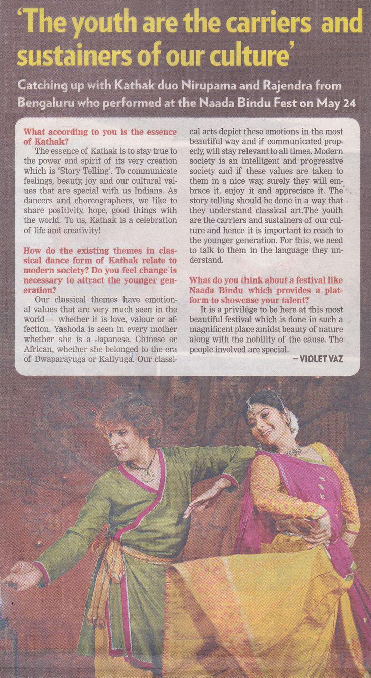 Chinmaya Naada Bindu - The #4thNaadaBinduFestival featured in Sakal Times on May 25, 2014, on Page 16.