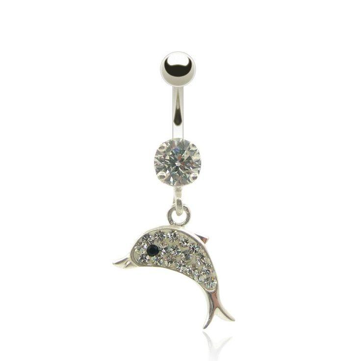 Piercing nombril pendentif dauphin orné de brillants de couleur bleu, rose ou blanc. Découvrez tous nos bijoux piercing motif dauphin sur c-bo.fr