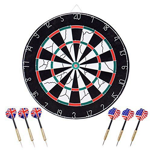 Bristle Dartboard, Wuudi Double-sided Flocking Dart Board with 6 Brass Darts(18 inches)  Full review at: http://best10best.com/best-dartboard/