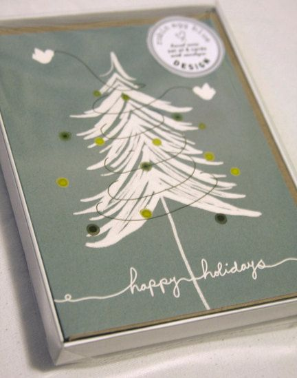 Set of 8 hand illustrated boxed Christmas cards (Set of 8 cards with coordinating envelopes) birdies trimming the tree on Etsy, $18.00 CAD
