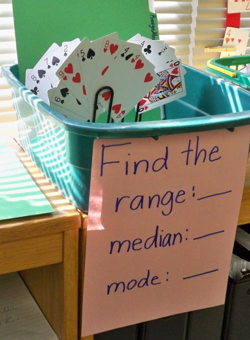 Love this math station I spotted in 5th grade recently. Students use playing cards to find range, median, and mode. Fun and simple activity!    Playing cards fanned out in a holder are used to determine range, median, and mode.