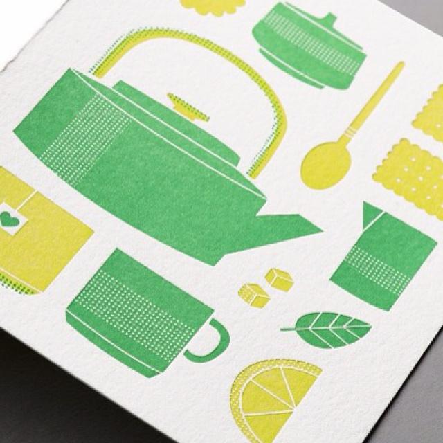 Tea print: Teas For Two, Studios Teas, Cards Design, Teas Time, Color Combos, Paper Paper, Design Sponge, Teas Prints, Mothers Day Cards