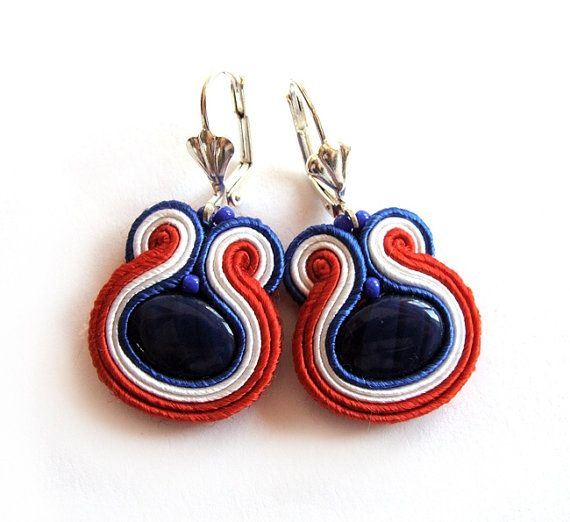 Multicolor soutache earrings handmade embroidery by SaboDesign, $30.00