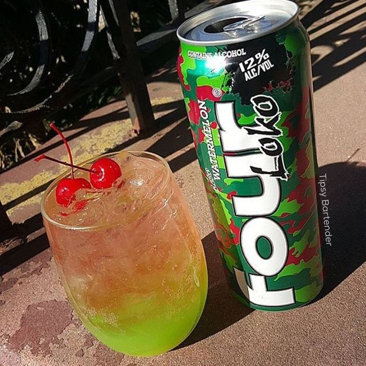 LOKO-MOTION 2 oz (60ml) Pineapple Juice Mixed  1 oz (30ml) Coconut Tequila 3 oz (90ml) Watermelon Big Shot Soda  1 oz (30ml0 Watermelon Vodka Top with Four Loko Watermelon