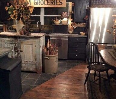Kitchen: Awesome Endearing Primitive Kitchen Decor And Country Home Black On from Country Primitive Kitchen Decor