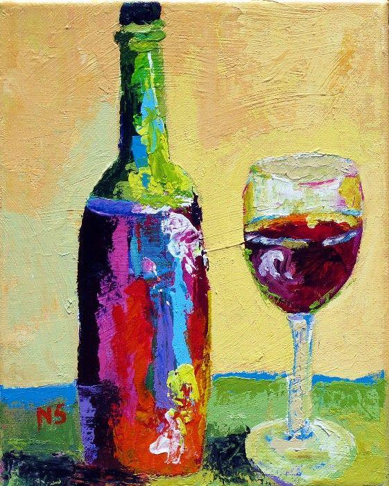 Abstract Wine Bottles Amp Glasses Palette Knife Painting